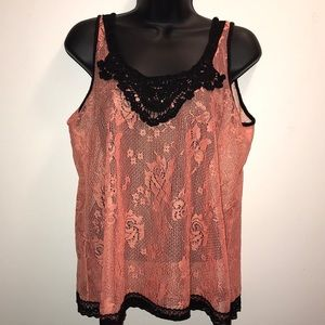 BUCKLE DAYTRIP Peach~Black Crochet/Lace Tank~sz M~